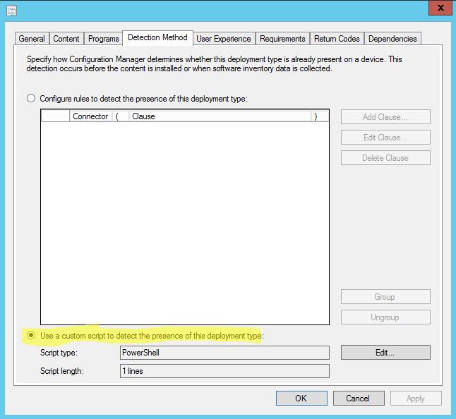 Script as Application Detection Method SCCM – Bunkershell